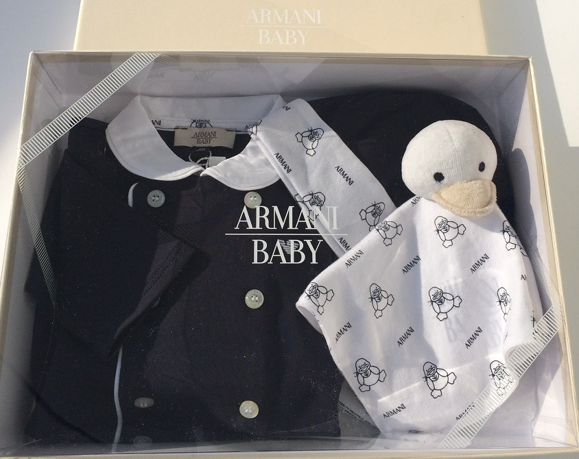 e4a5445f3adf ARMANI BABY baby boy suit romper with hat an toy in Armani ...